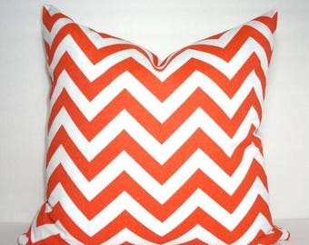 OVERSTOCK SALE Outdoor Orange and White Chevron Geometric Zigzag Pillow Cover Home Decor by HomeLiving Size 20x20