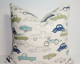 SPRING FORWARD SALE Navy Blue Light Blue Green Cars Trucks Boys Nursery Pillow Covers Decorative Throw Pillow All Sizes