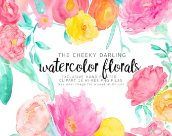 Watercolor Flowers Clipart Large HiRes Graphics Summer Floral PNG files hand painted perfect for invites planner branding logo