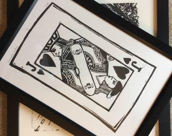 Jack of Hearts linoleum Print