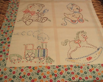 """14"""" x 14"""" PILLOW COVER - Vintage-look Children's Toys Simulates Nostalgic Embroidery Teddy Bear, Duck, Train, Rocking Horse"""