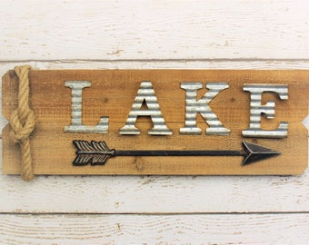 Lake House Sign, Arrow Sign, This Way To The Lake, Custom Lake Sign, Cabin Signs, Lake House Decor, Wall Signs, Galvanized, Fixer Upper