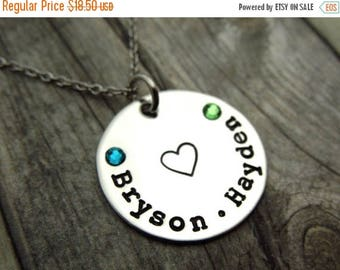SALE Two Name mothers necklace with birthstone crystals, personalized mothers day gift