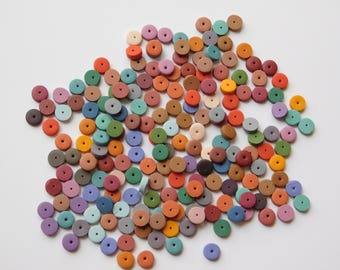 Small Polymer Clay Disc Beads, multi-color spacer beads