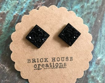 Black Sparkle Square Druzy Earrings