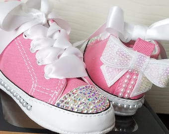 Crystal Converse, Pink Shoes, Baby Sizes, AB Crystals, White Pearls, White Bows, Crib Shoes, Size 1 2 3 4