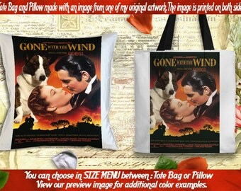 Welsh Corgi Pillow or Tote Bag/Welsh Corgi Art/Dog Tote Bag/Dog Pillow/Dog Art/Custom Dog Portrait - Gone with the Wind Movie Poster