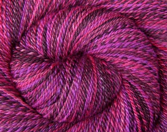 Handspun Yarn DK Weight - DRAGON FRUIT - Handpainted 60/40 Polwarth wool/Tussah Silk, 330 yards, gift for knitter, fuchsia yarn, weft yarn