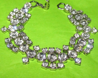 Vintage Signed La Rel Rhinestone BLING Bracelet - 1950's Bride / Wedding