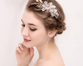 Gold Leaf Vine Bridal Headpiece. Boho Delicate Crystal Pearl wedding Wreath. Blush Halo Headband. Rhinestone Floral Hairpiece