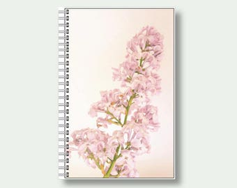 Notebook, A5 Floral Note Book, Flower Journal, Notepad, Lilac, Gift For Gardener