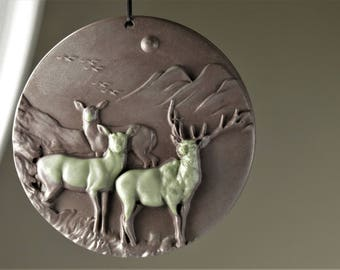 Extremely Exquisite ~ Machine Carved Ribbon Jasper Large Elks Pendant ~ 60mm x 10mm - B8334