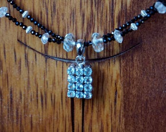 Aquamarine and Sterling Pendant with Double Strand Spinel and Aquamarine Beads