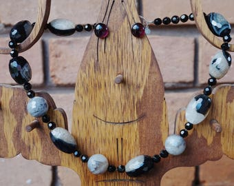 Black and White Chunky Agate Beads with Onyx and Crystal Accents