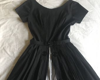 1950s Striped Cotton Dress / 1950s Kay Windsor Button Dress / 1950s Cotton Dress / 1950s Cotton Black and White Dress / Extra Small XS 24