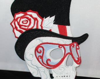 Lace Applique Skull with Top Hat