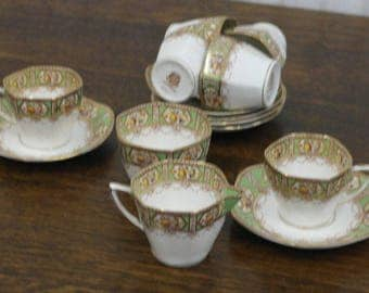 antique fine china arcadia gree gold floral decoration 6 pieces with milk and suger tea set