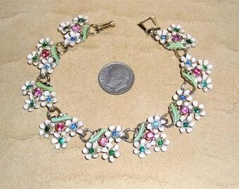 Vintage White Enamel Flower Bracelet With Pink Blue Green Rhinestones 1950's Jewelry 10023