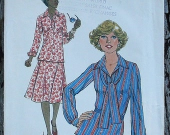 25%off Sizzlin Summer Sal Simplicity 8084 1970s 70s Blouse Midi Skirt Vintage Sewing Pattern Size 12 Bust 34