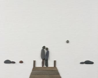 Pebble Art couple standing on dock, wedding gift, anniversary gift by Sharon Nowlan matted or framed 12 by 16