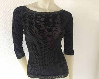 Black Burn out stretch  Shirt Top Sleeves 7/8  Sheer Houndstooth Tango Ballet Top Size US 4 and 6 Eu 34/36 Tango Chamise Evening Top