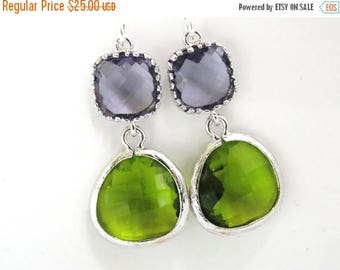 SALE Glass Earrings, Green Earrings, Apple Green, Purple Earrings, Tanzanite, Silver, Bridesmaid Earrings, Bridal Jewelry, Bridesmaid Gifts