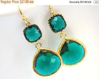 SALE Green Earrings, Green Emerald Earrings, Drop, Gold Earrings, Wedding Jewelry, Bridesmaid Earrings, Bridal Jewelry, Bridesmaid Gift