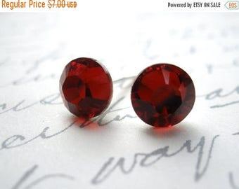 SALE Red Stud Earrings, Post Studs, Red Earrings, Scarlet, Swarovski Crystal, Siam Color, Weddings, Bridesmaid Earrings, Bridesmaid Gifts