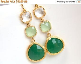 SALE Green Earrings, Green Mint Earrings, Clear, Gold, Drop, Dangle, Bridesmaid Jewelry, Bridesmaid Earrings, Bridal Jewelry, Bridesmaid Gif