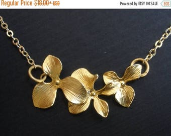 SALE Orchid Flower Necklace, Bridesmaid Jewelry, Pendant, Gold Flower Necklace, Wedding, Bridesmaid Necklace, Bridal Jewelry, Bridesmaid Gif