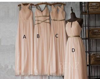 2017 Peach Bridesmaid Dress, Long Prom Dress, Wedding Dress, A Line Chiffon Formal Dress, Mix Match Floor Length (F062~F066)/Renzrags Renz