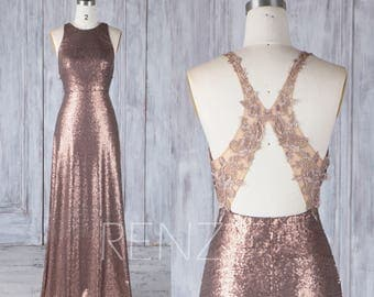 bridesmaid dress bronze sequin wedding dressjewel neck fitted long prom dressillusion lace
