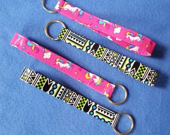 Handmade Duct Tape Keychain, geometric pattern or unicorns and rainbows, upcycled duct tape key fob keyring keychain
