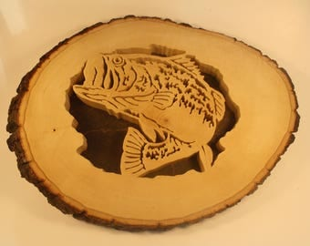 Fish in the Log - Fathers Day Gift - Wood Fish Wall Hanging - Fisherman Gift - Rustic Art Wall Decor - Rustic Fish Art - Scroll Saw Art