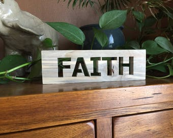 Faith Sign - Rustic Sign - Rustic Faith Wood Words Sign - Rustic Home Decor - Farmhouse Signs - Rustic Home - Wall Hanging - Wooden Sign