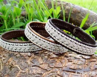 MJOLNIR Viking Bracelet for Men and Women | Sami Lapland Bracelet in Dark Brown Lambskin decorated with Pewter Braids | Handmade to You