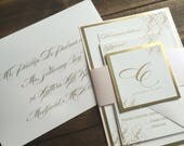 Wedding Invitations - Gold Wedding Invitation - Blush and Gold Wedding Invitations