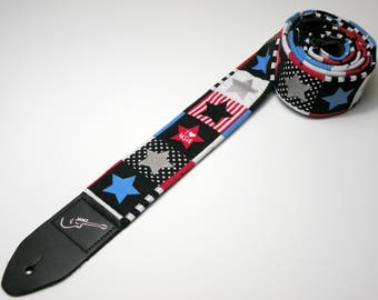 Handmade double padded USA guitar strap - America - Patriotic