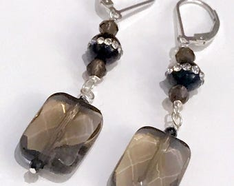 Smokey Quartz and Onyx gemstone Earrings, with pave crystal onyx rounds and Sterling silver leverback earrings (E111)