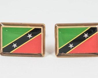 Saint Kitts and Nevis Flag Cufflinks--St. Kitts and Nevis