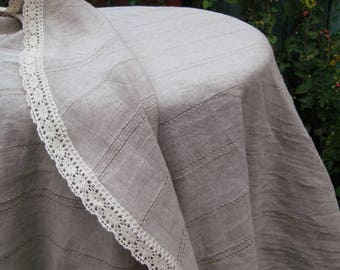 Round Oval Linen Gray Tablecloth, Striped Flax Lace Table Cloth, Washed  Burlap Table Runner