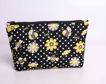 Bumble bee make up pouch, cosmetic case, pencil case, toiletry bag