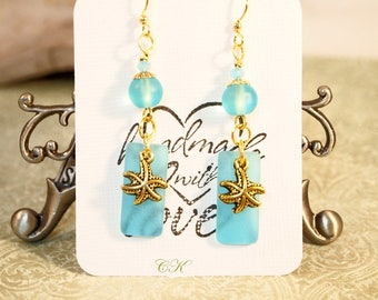 Recycled Sea Glass Earrings Aqua Blue Dangle Pierced or Clip-on Earrings Beach Jewelry Sea Glass Jewelry Rustic Patina Shell Charm Earrings