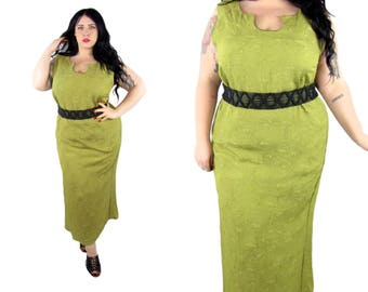 Plus Size 1990's Green Textured Maxi -Size 1X