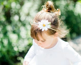 Felt Flower Baby or Little Girl Headband || Daisy