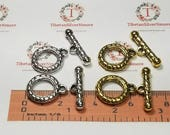4 pairs per pack 25mm Thick heavy duty Medium Toggle Clasp Antique Silver or Gold Finish Lead free Pewter