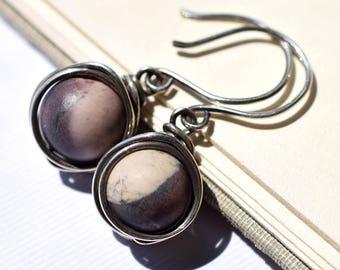 Porcelain Jasper Earrings, Sterling Silver Wire Wrapped Earrings, Natural Stone Earrings, Oxidized Silver Earrings, Cream Stone Earrings