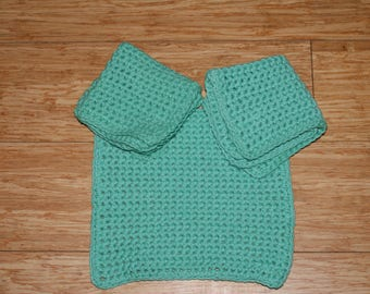 Set of 3 LightGreen Crochet Dishcloths  All Cotton
