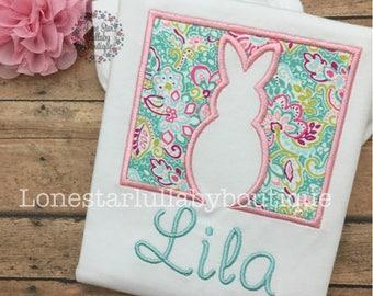 Bunny Silhouette Easter Shirt - toddler girl, little girl, baby girl
