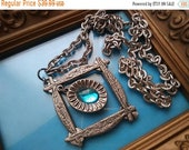 ON SALE Blue Glass Stone Pendant Necklace ~ Vintage Statement Necklace ~ 1950's 1960's Vintage Jewelry ~ Old Hollywood Glam ~ Retro Rockabil